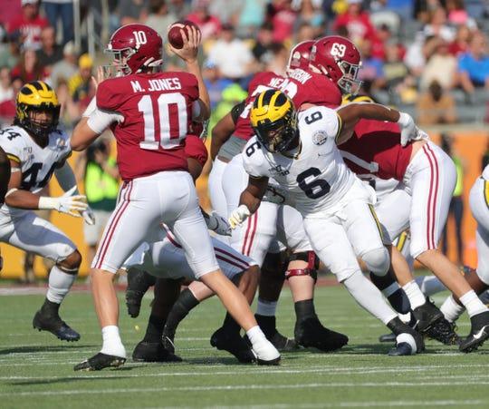 Michigan linebacker Josh Uche  rushes against Alabama quarterback Mac Jones during the first half of U-M's 35-16 loss in the Citrus Bowl on Wednesday, Jan. 1, 2020, in Orlando, Florida.