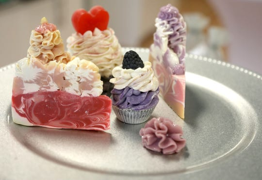 Some of soaps Camilla Rice makes to sell at her store, Green Olive Soaps, in Troy, Michigan.