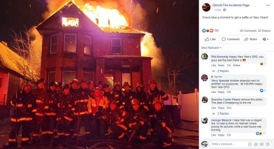"A photo was posted Tuesday just before midnight on the Facebook page Detroit Fire Incidents Page. It included a caption: ""Crews take a moment to get a selfie on New Years!"""