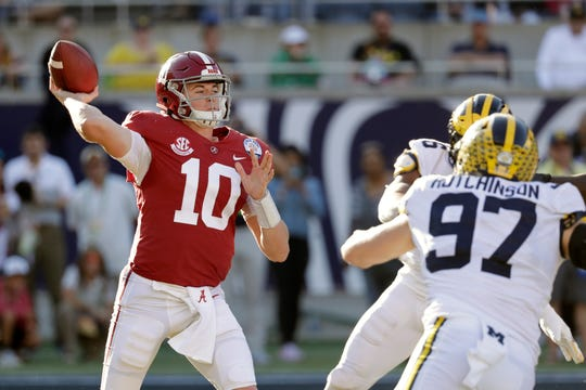 Alabama quarterback Mac Jones (10) throws a pass as Michigan defensive lineman Aidan Hutchinson (97) rushes during the second half of the Citrus Bowl NCAA college football game.