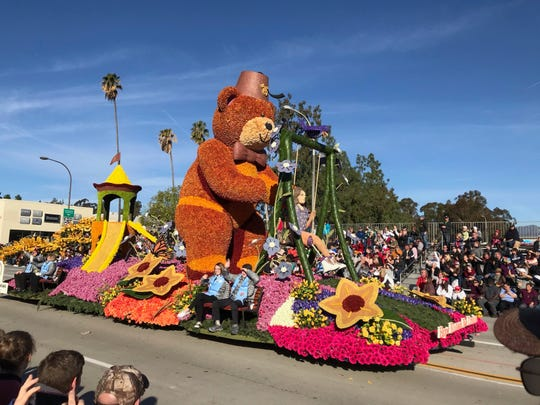 The Shriners Hospitals for Children float rides the 131st Rose Parade route in Pasadena, Calif., Wednesday.