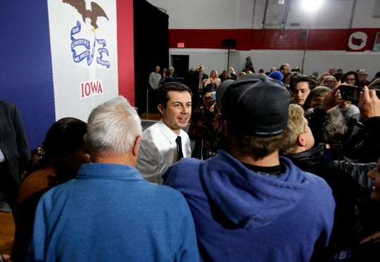 Democratic presidential candidate South Bend, Ind. Mayor Pete Buttigieg speaks to supporters during a campaign stop at Maquoketa Middle School in Maquoketa, Iowa, Monday, Dec. 30, 2019.