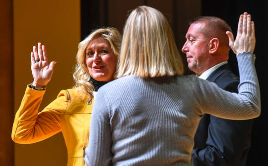 Second Ward councilwoman Missy Mosby is sworn in during the noon swearing in for the Evansville city government officials Wednesday at The Victory. The ceremony included Mayor Winnecke and nine members of the City Council, five of whom are new, on Jan. 1, 2020.