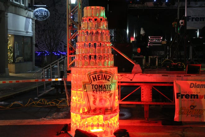 Downtown Fremont Inc. celebrated New Year's Eve with a series of events in the downtown area. This included a lighted Kraft Heinz display that celebrated the company's 150th anniversary in Fremont.