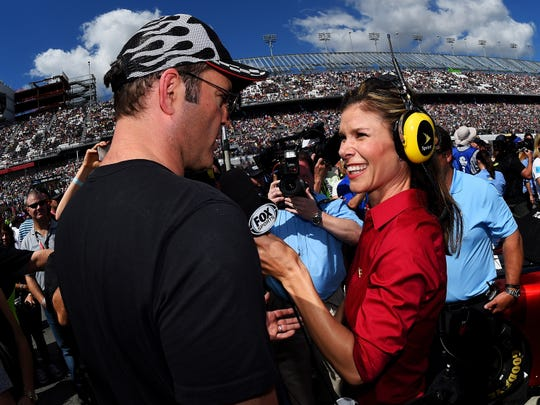 Jamie Little, right, interviews actor Vince Vaughn at the 2015 edition of the Daytona 500 NASCAR race.