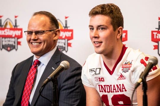 IU quarterback Peyton Ramsey (right) and coach Tom Allen (left) answer questions from the media ahead of Thursday's Gator Bowl in Jacksonville, Fla.