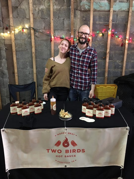 """Lauren Rosa and Mike Agentis are the """"two birds"""" of Two Birds Hot Sauce. Dec. 15, 2019."""