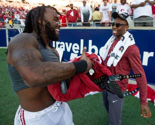 Alabama defensive back Shyheim Carter (5) and wide receiver Henry Ruggs, III, (11) after defeating Michigan in the Citrus Bowl in Orlando, Fla., on Wednesday January 1, 2020.