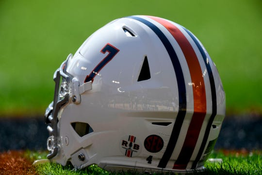 Jan 1, 2020; Tampa, Florida, USA; A general view of the honorary Auburn Tigers helmet to honor heisman trophy winner Pat Sullivan prior to the game between the Auburn Tigers and the Minnesota Golden Gophers at Raymond James Stadium. Mandatory Credit: Douglas DeFelice-USA TODAY Sports
