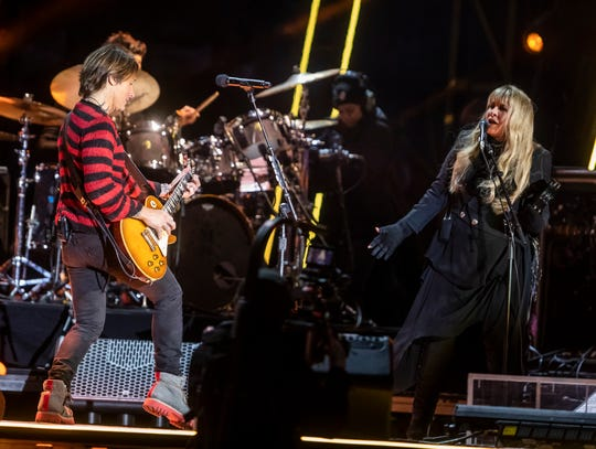 Keith Urban and Stevie Nicks perform during the Jack Daniel's Music City Midnight New Year's Eve celebration Tuesday, December 31, 2019.