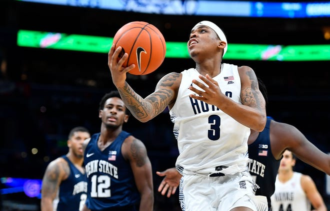 Nov 14, 2019: Georgetown Hoyas guard James Akinjo (3) attempts a shot against the Penn State Nittany Lions during the second half at Capital One Arena.