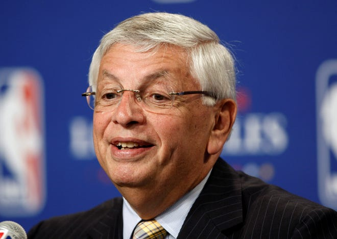 FILE -  In this June 7, 2009, file photo, NBA Commissioner David Stern announces Los Angeles will be the site of the 2011 NBA All-Star basketball game, at a news conference, in Los Angeles. David Stern, who spent 30 years as the NBA's longest-serving commissioner and oversaw its growth into a global power, has died on New Year's Day, Wednesday, Jan. 1, 2020. He was 77. (AP Photo/Matt Sayles, File)