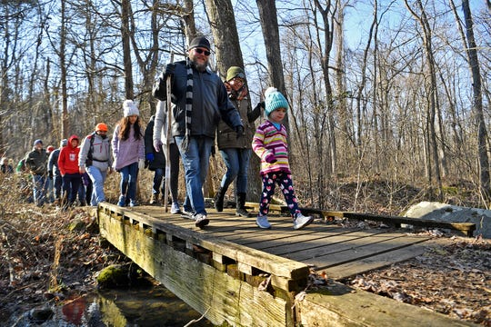 More than 100 people take part in the fifth annual First-Day Hike at Gifford Pinchot State Park, Wednesday, January 1, 2020.