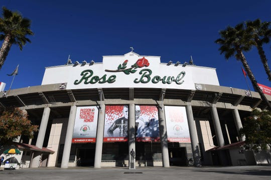 The Rose Bowl stadium, where the Oregon Ducks will battle the Wisconsin Badgers today.