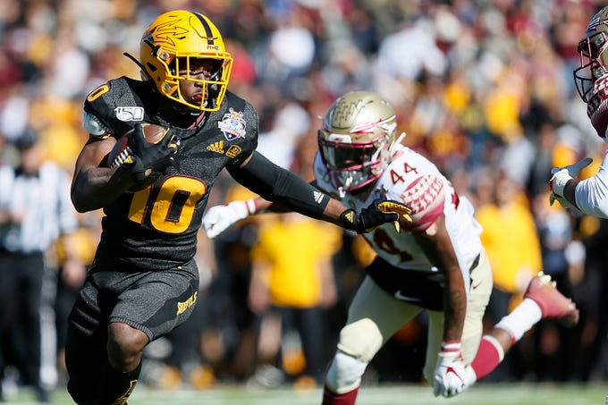 Arizona State's Kyle Williams runs the ball during the Sun Bowl NCAA college football game against Florida State, Tuesday, Dec. 31, 2019 in El Paso, Texas. (Briana Sanchez/The El Paso Times via AP)