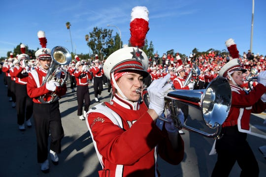 The Wisconsin marching band performs at the 131st Rose Parade in Pasadena, Calif., Wednesday, Jan. 1, 2020. (AP Photo/Michael Owen Baker)