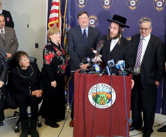 Monsey resident Josef Gluck speaks after being honored by Town of Ramapo Supervisor Michael Specht and Rep. Nita Lowey during a news conference at Ramapo Town Hall Dec. 31, 2019.