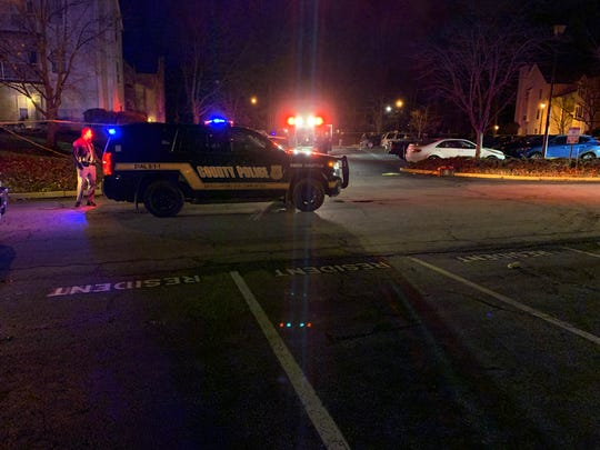 New Castle County Police responded to a shooting at Ashton Condominiums near New Castle Tuesday night.