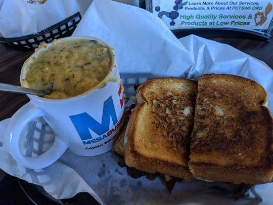 Pepper popper grilled cheese and broccoli soup at 8th Street Coffee House.