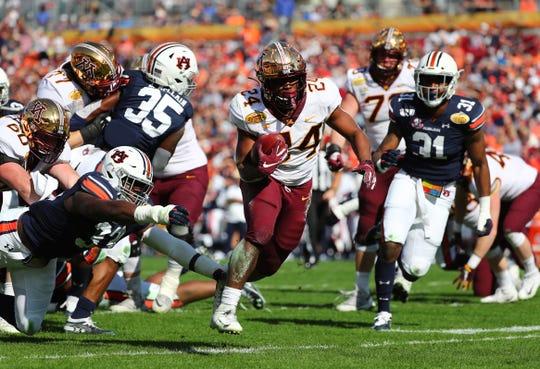 Minnesota running back Mohamed Ibrahim breaks free for a touchdown against Auburn during the first half of the 2020 Citrus Bowl at Raymond James Stadium.
