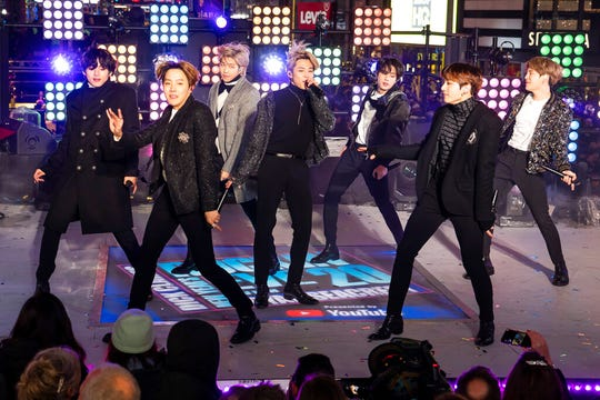 BTS perform at the Times Square New Year's Eve celebration on Tuesday, Dec. 31, 2019, in New York.