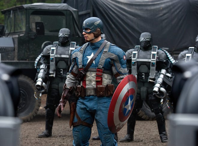 "Chris Evans in a scene from ""Captain America: The First Avenger."""