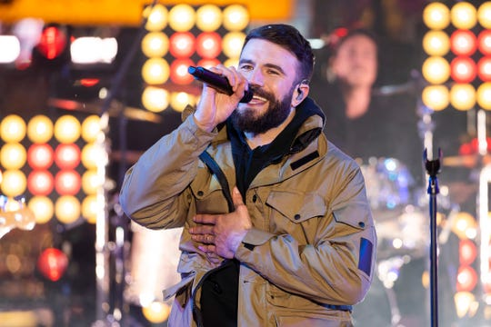 Sam Hunt performs on stage at the Times Square New Year's Eve celebration on Tuesday, Dec. 31, 2019, in New York.