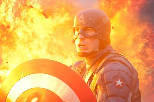 "Chris Evans plays Captain America in a scene from the 2011 film ""Captain America: The First Avenger."""