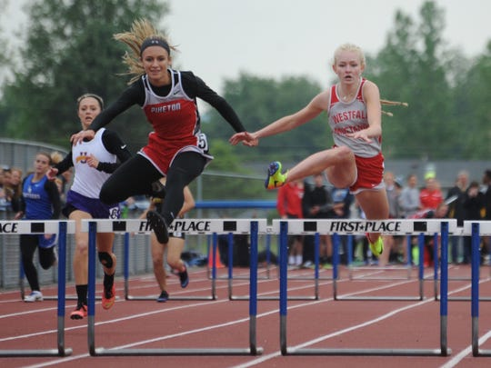 Piketon's Cami Chandler competes in the 300-meter hurdles during the 2017 Scioto Valley Conference track and field meet.