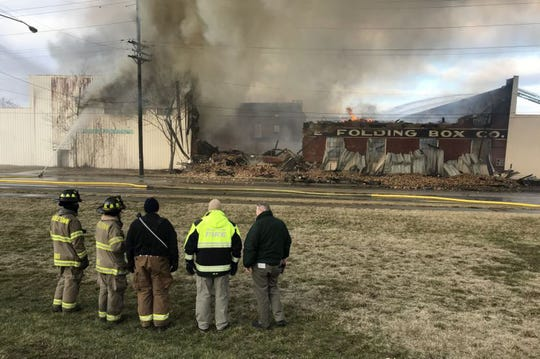 Crews battle a vacant warehouse fire in Middletown.