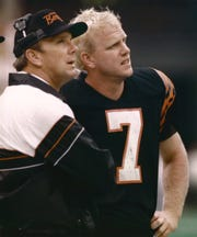 DECEMBER 30, 1988: Cincinnati Bengals Coach Sam Wyche, left and quarterback Boomer Esiason.