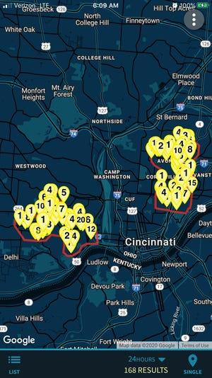 Gunfire incidents over the 24 hours surrounding New Year's Eve in Cincinnati.