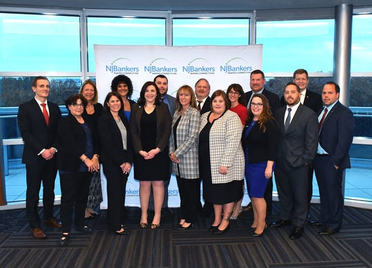 The 2019 graduates of the NJBankers Emerging Leaders class include: First row (left to right) Adam Cadmus, Two River Community Bank; Dr. Susan Mach, instructor; Rachel O'Keefe, OceanFirst Bank; Jennifer Hopper, Lakeland Bank; Marlena Taglieri, Lakeland Bank; Jennifer Weisert, Manasquan Bank; Aline Silva, Northfield Bank; Scott Smith, OceanFirst Bank; Jeffrey Zuendt, Investors Bank. Second Row (left to right) Dr. Cindy Rowan, instructor; Connie Whitman, instructor; Johnny Wheeler, Unity Bank; Anthony Detoro, Amboy Bank; Brianna Frieder, Investors Bank; Al Giobbie, instructor; and John Kowal, Peapack-Gladstone Bank.
