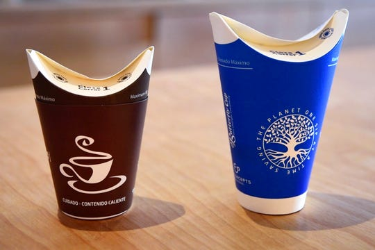 DreiBerge Coffee currently uses Butterfly Cups that don't require plastic lids, but will now charge 25 cents extra for them. The coffeehouse plans to phase them out in April.
