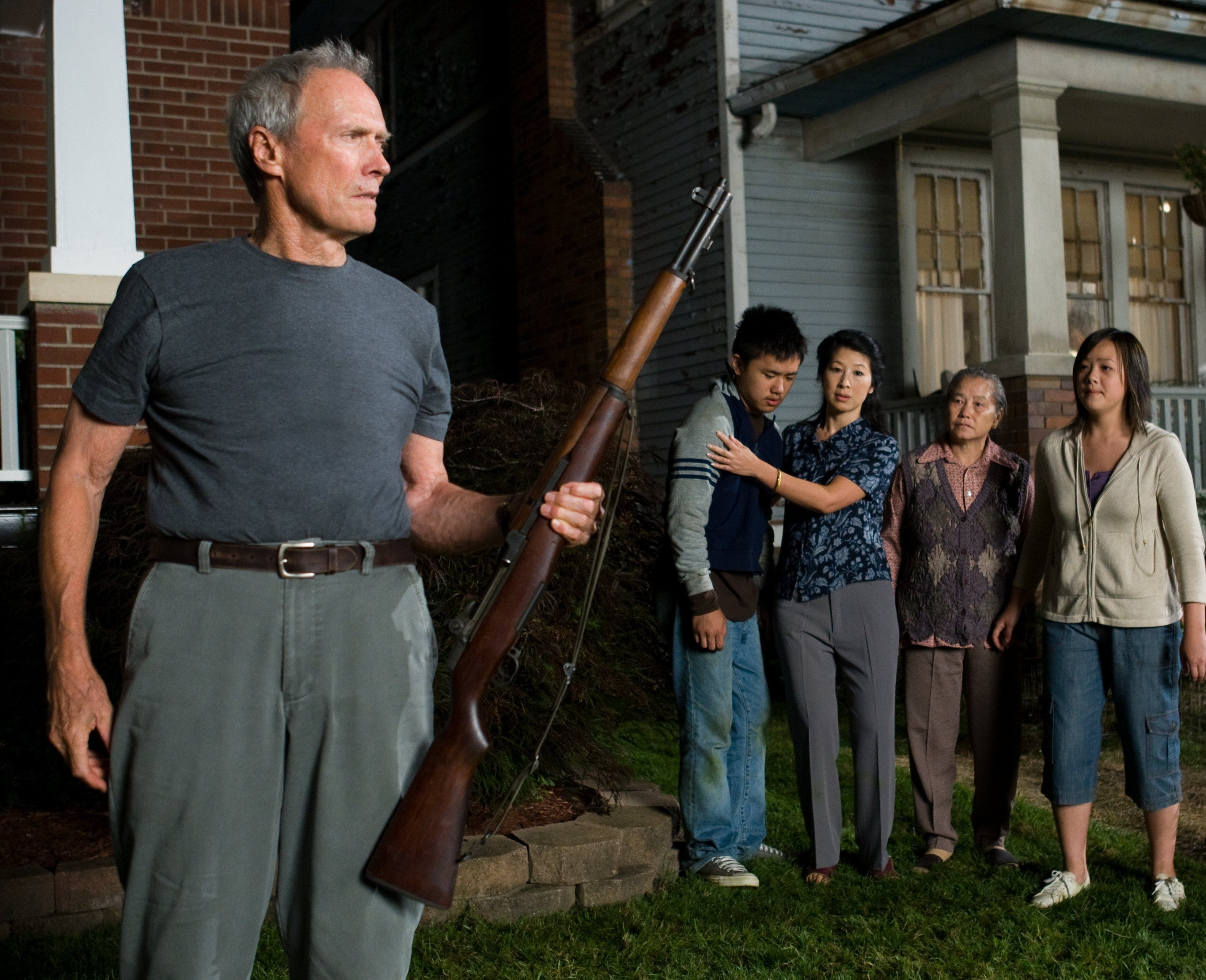 """Walt Kowalski, Thao, Vu, Grandma and Sue  in Warner Bros. Pictures and Village Roadshow Pictures drama """"Gran Torino,"""" distributed by Warner Bros. Pictures."""