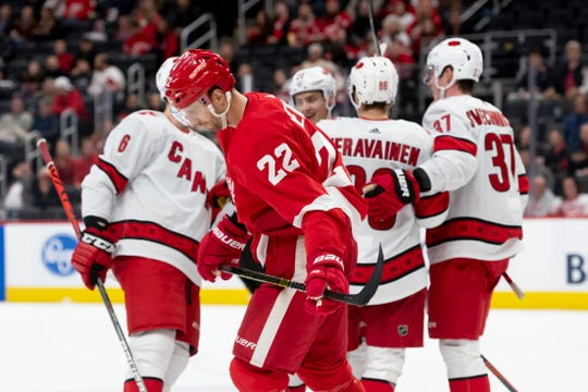 Patrik Nemeth (22) and the Red Wings own the worst record in the NHL, have allowed  the most goals, and have scored the fewest.