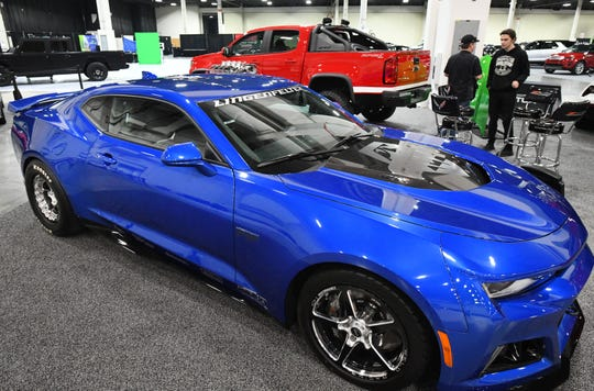 A highly customized Lingenfelter Eliminator Series 2018 Camaro ZL1 with a 1000 HP engine is on display during final preparations for the first annual Southeast Michigan Auto Show at Suburban Collection Showcase in Novi, Thursday.