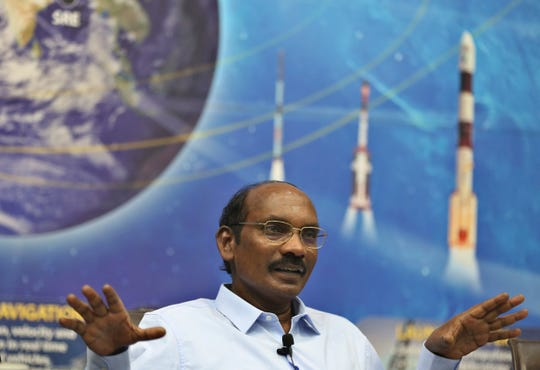 Indian Space Research Organization (ISRO) Chairman Kailasavadivoo Sivan speaks during a press conference at their headquarters in Bangalore, India, Wednesday, Jan. 1, 2020.