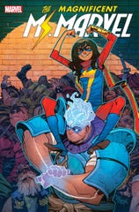 """Here is Amulet giving Ms. Marvel a boost on the cover of """"The Magnificent Ms. Marvel #13"""" by Eduard Petrovich."""