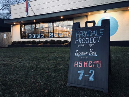 Ferndale Project brewery will host a coffee pop-up with Ashe Supply Co. until it is ready to serve beer and cider.
