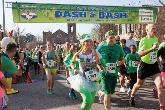 The St. Paddy/s Day Dash & Bash featured a chip-timed 5K walk/run through downtown Greenville.
