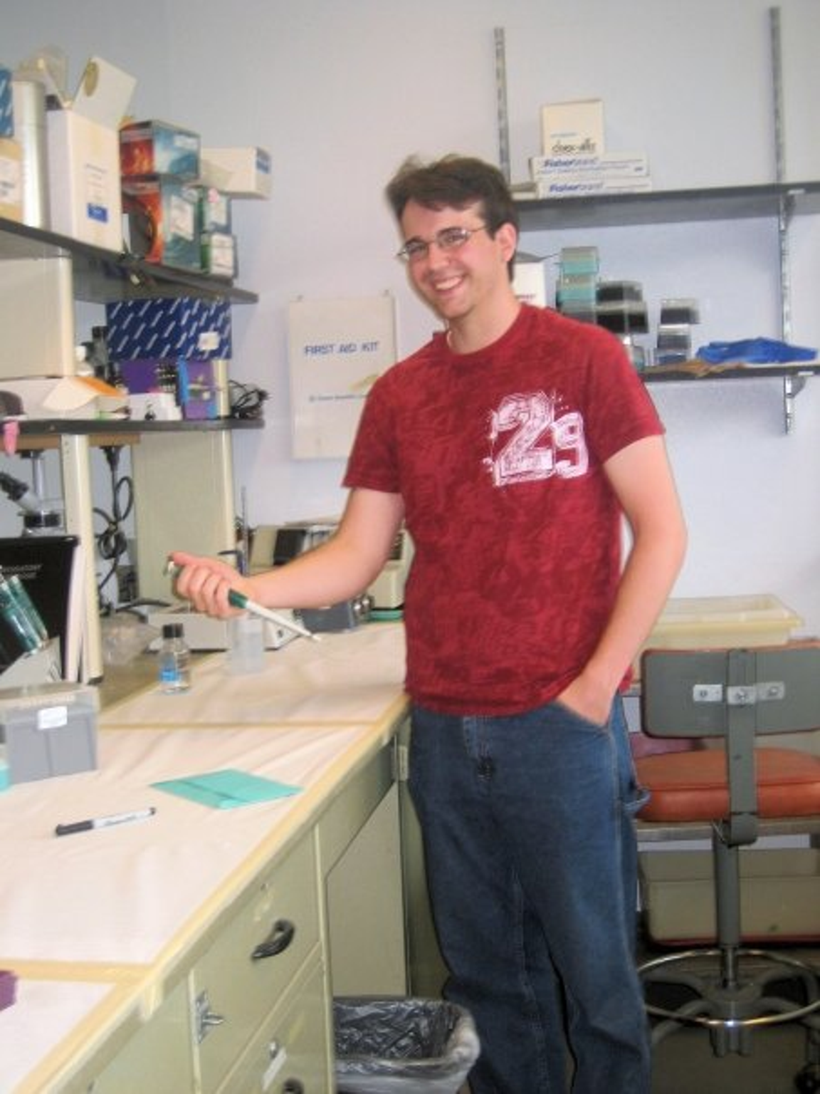 Caleb Marceau in the lab at Portland State University.