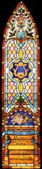The vestry of St. Paul's Episcopal Church commissioned this stained glass window shortly after the 1886 death of its beloved master organist, Casper F. Artes, who had held the position for 26 years.