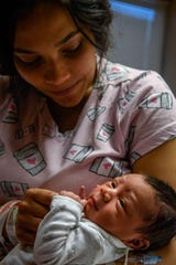 Destinee Collins holds her newborn baby, Legend Khy'Leo Collins, who was born at 7:27 a.m. New Year's Day in Henderson, making him the first baby born at Methodist Health hospital in 2020, Thursday, January 2, 2020.