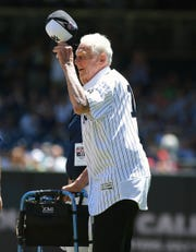Jun 12, 2016; Bronx, NY, USA; Former New York Yankees pitcher Don Larsen waves to the fans during the Old Timers Day ceremony prior to the game between the Detroit Tigers and New York Yankees at Yankee Stadium. Mandatory Credit: Andy Marlin-USA TODAY Sports
