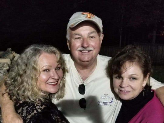 Bob Davis with sisters Traci Smith and Gayla Davis, October 2017.