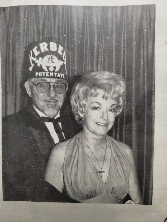 Bill and Betty Davis, with Bill as Potentate of the Kerbela Temple Shriners. 1983.