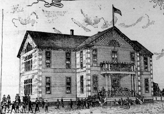 Drawing of St. Landry High School that was published in the St. Landry Clarion Newspaper when the school opened in January of 1894.