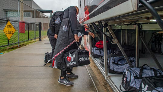 UL's baller cane is packed for the trip to Mobile on Thursday.