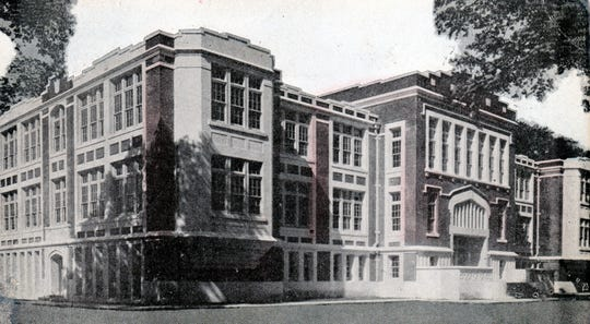 The new brick St. Landry High School building on South Street in about 1915. This school eventually became Opelousas High School.